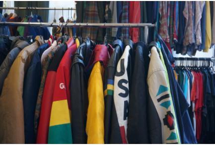A rack of oversized jackets reminiscent of the 1990s