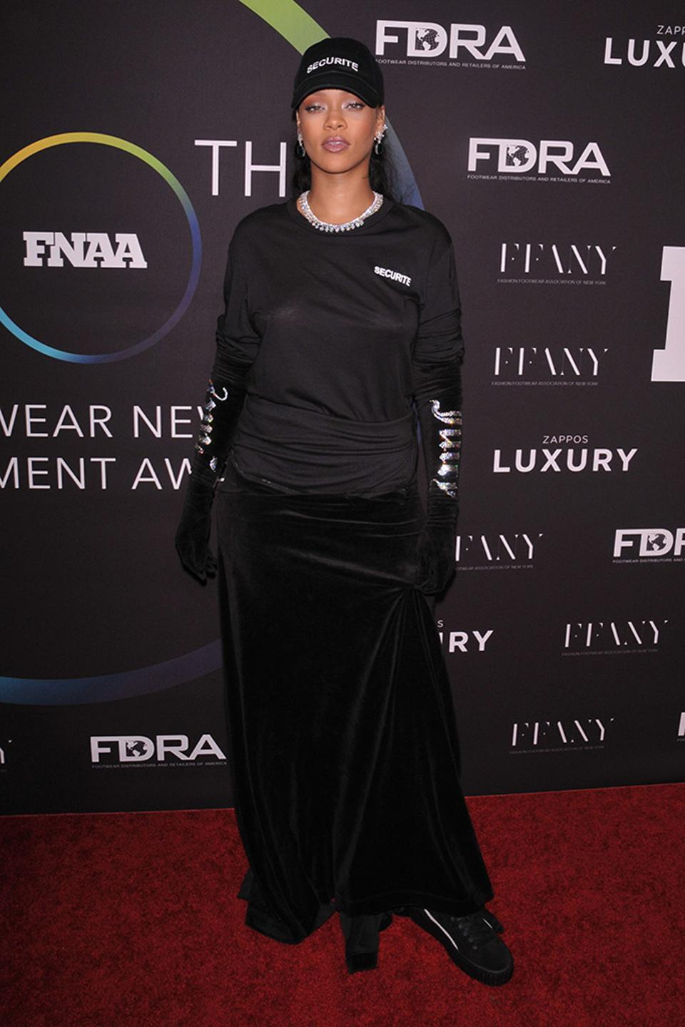 Rihanna wearing the iconic shoe to the 30th Footwear News Achievement Awards  Photo by REX Shutterstock