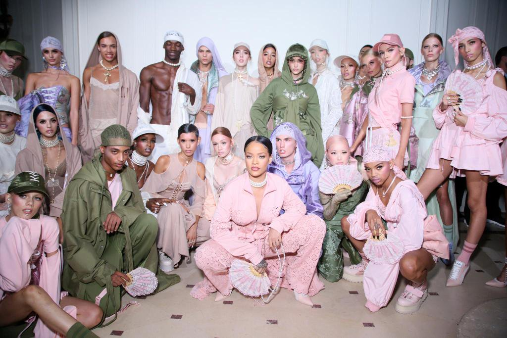Rihanna backstage with models at the FentyxPuma runway show