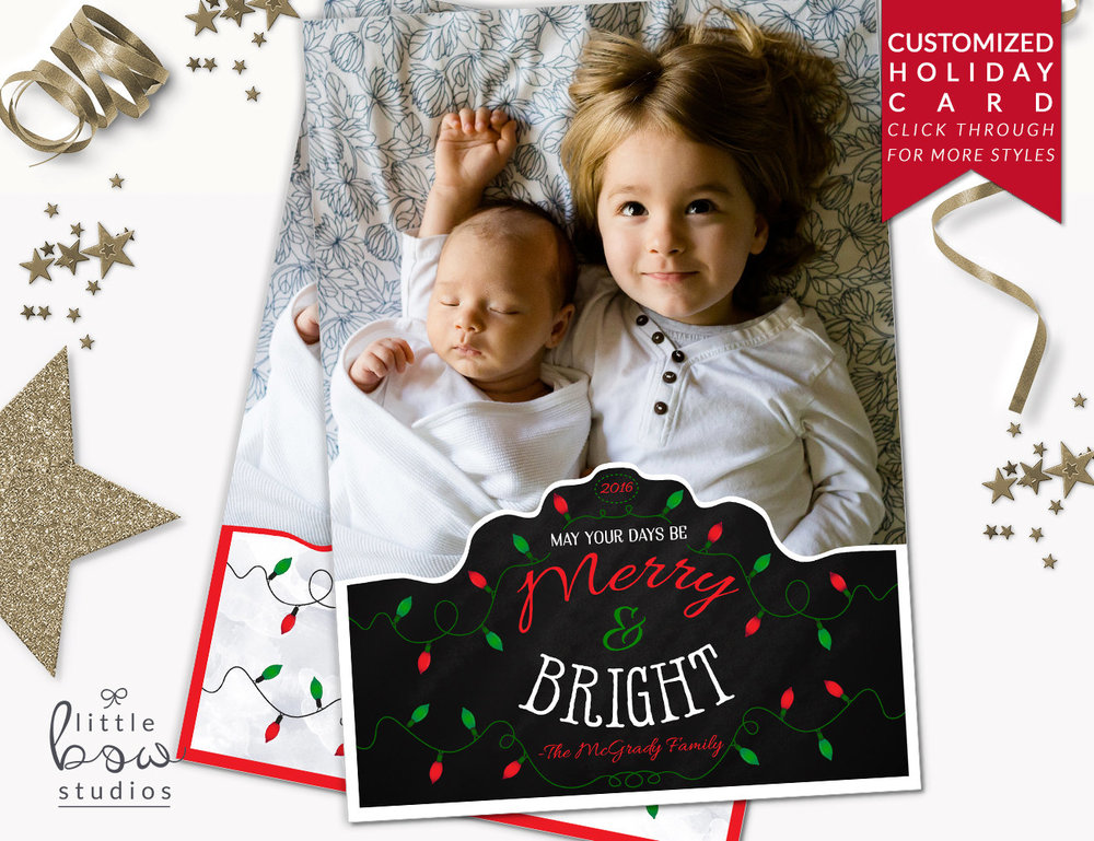 Holiday Photo Card Merry And Bright Christmas Card Family Photo Holiday Card New Year S Card Printable Unique Christmas Card 5x7 Cards Little Bow Studios