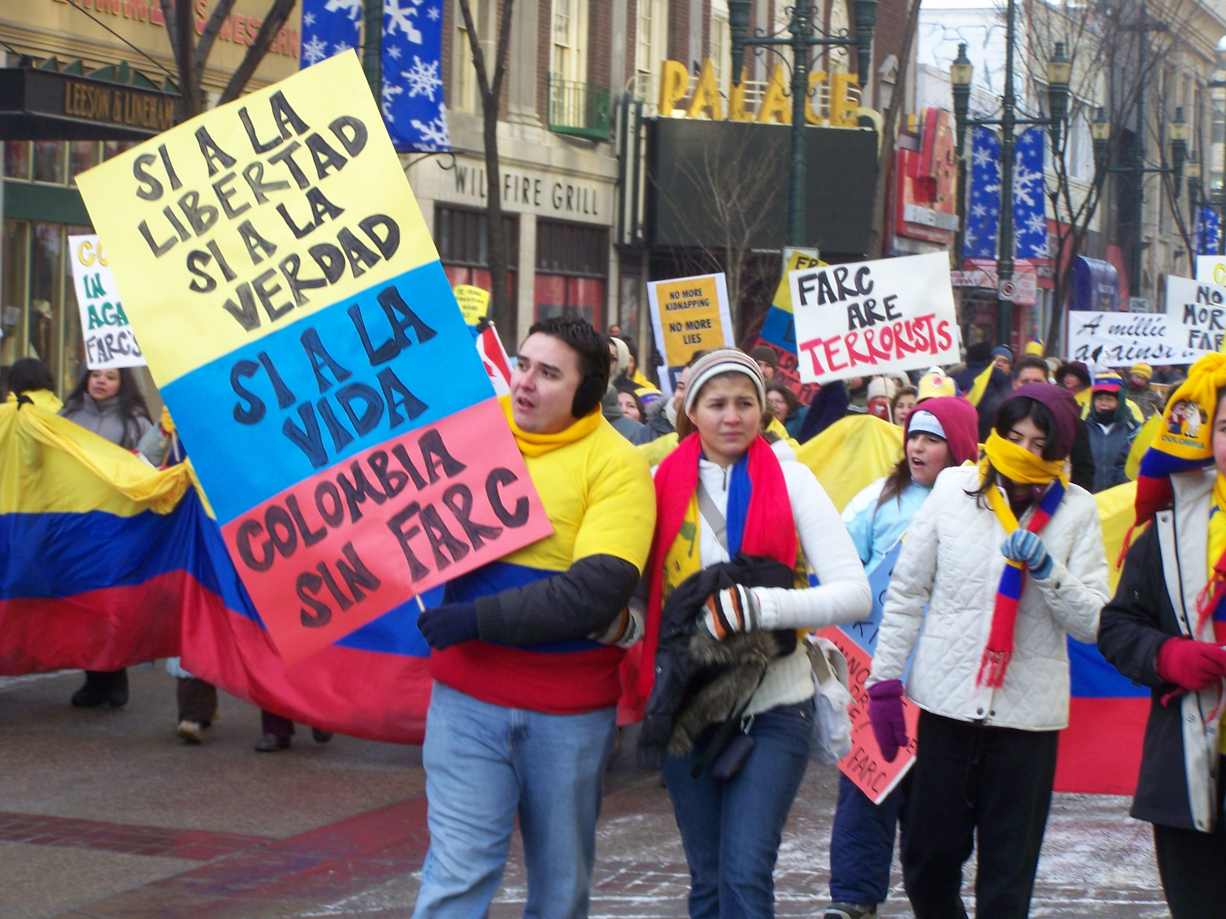 A protest against  Revolutionary Armed Forces of Colombia , held in Calgary, Alberta, Canada. Protesters are seen walking down Stephen Avenue Mall in the downtown. It was one of several locations around the world on February 4, 2008. Source:  Robert Thivierge