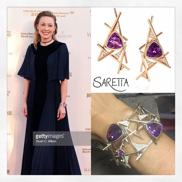 Juliet shimmering on the red carpet at The Old Vic's 200 year anniversary party! Wearing our Red Carpet cuff and earrings  @sarettajewellery , gown by @dior styling by @chloebeeneystyling and hair and make up @ewtmakeup  Juliet is one of the ambassadors @oldvictheatre where we all helped raise an astonishing £1.2 million. This funding is vital and amongst other things it will ensure that this iconic and hugely important theatre will have accessibility for everyone!  #julietrylance #ov200 #theoldvic #londontheatre #statementjewelry #redcarpet #redcarpetjewellery #diamondcuff #royalamethyst #londonjewellery #sarettajewellery