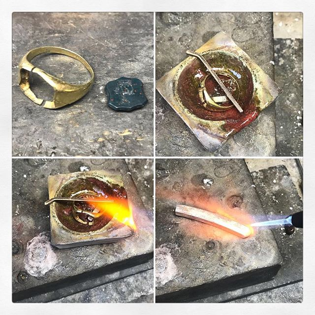 Remaking an Antique Signet Ring. This beautiful very old Signet ring set with a hand carved blood stone was very sentimental. The ring itself had worn terribly thin over four generations and needed some love! We used the same gold that had so much sentiment together with some fresh gold and forged the two together in preparation for creating the new stronger model for the next few hundred years.  #meltinggold #upcycling #goldsmithing #goldschmied #signetring #heritage #estatejewelry #sarettajewellery