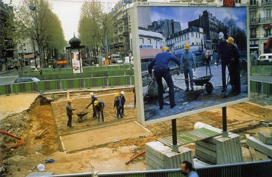Pierre Huyghe Chantier Barbès-Rochechouart Billboard, Paris 1994. (Part of his billboard series)