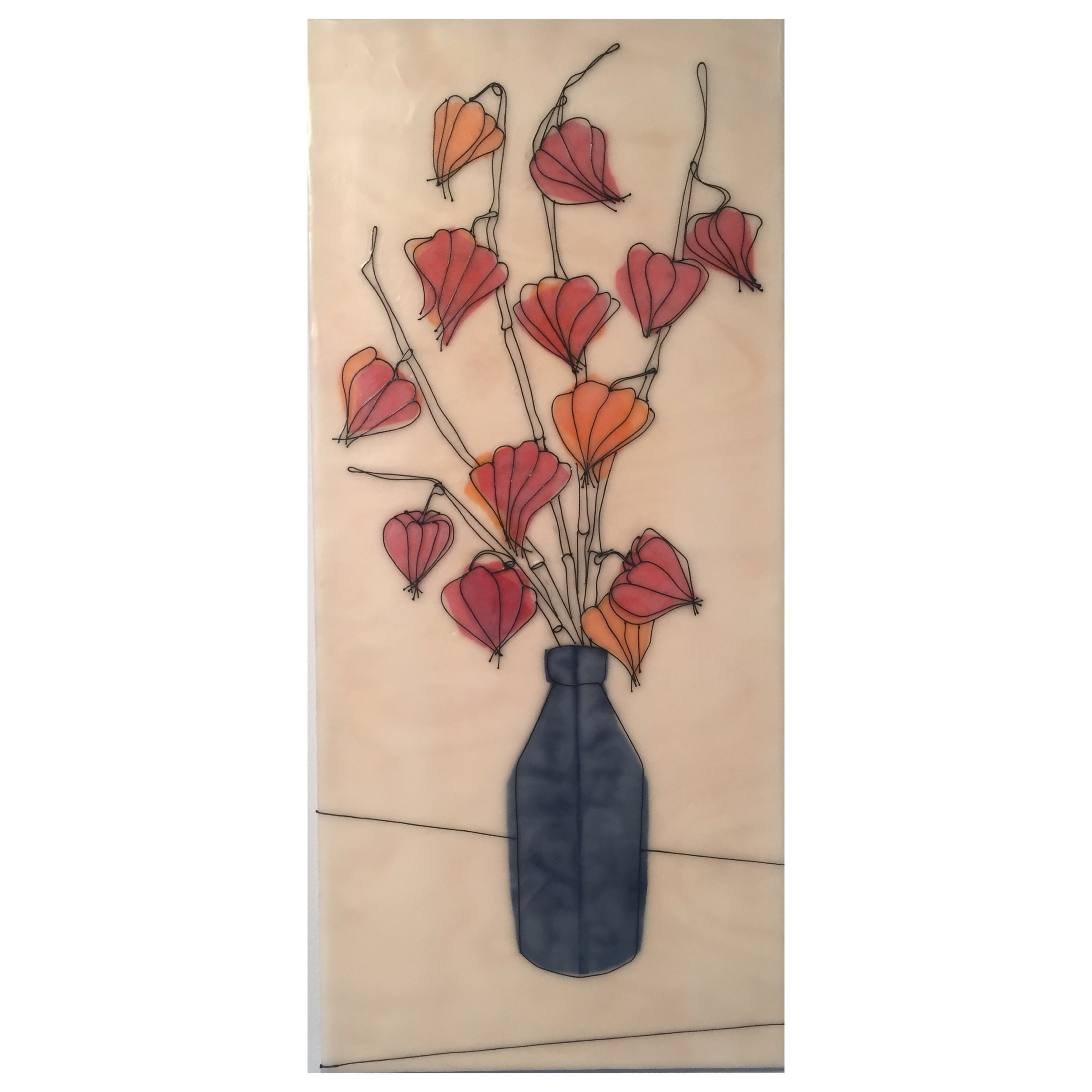 Japanese Lanterns, Blue Vase