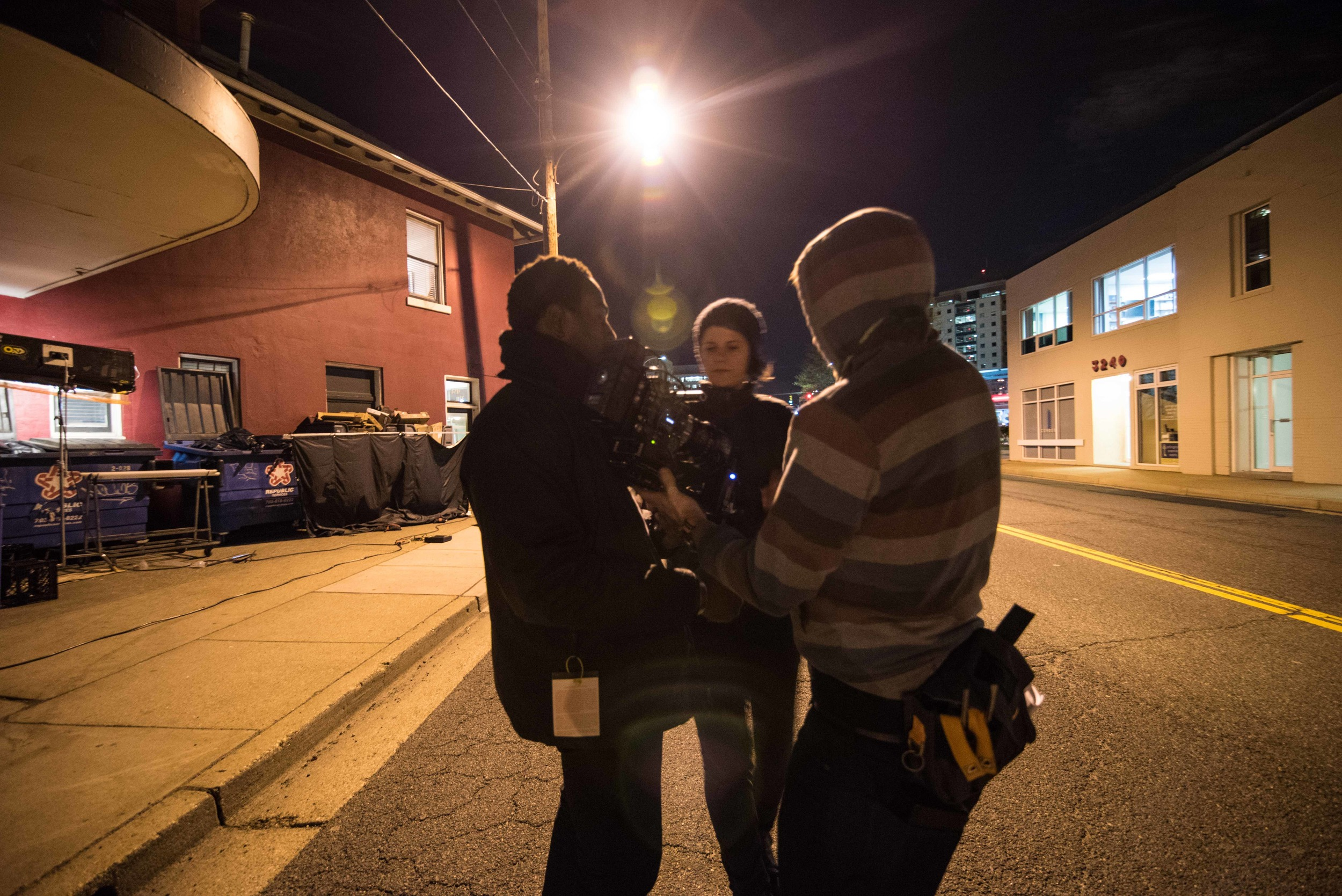 Cinematographer Hans Charles, Director Giovanna Chesler, AC Cameron Perrier get ready for the next take in JAVA the short. Image Dixie D. Vereen.