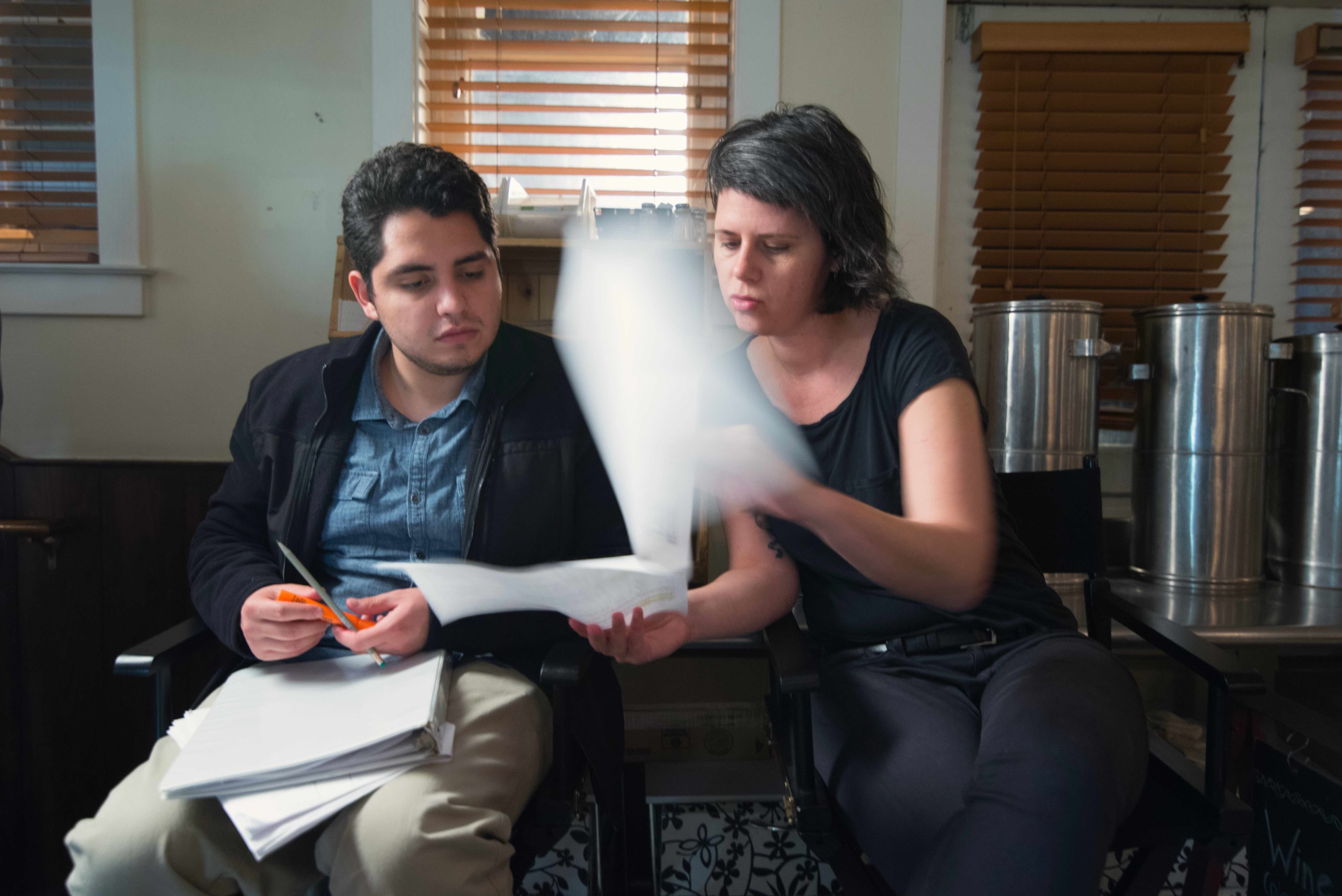 JAVA was produced with The Mason Film Lab in Film and Video Studies at George Mason University. Here Chesler works with Rodrigo Vasquez in script supervising. Image Dixie D. Vereen.