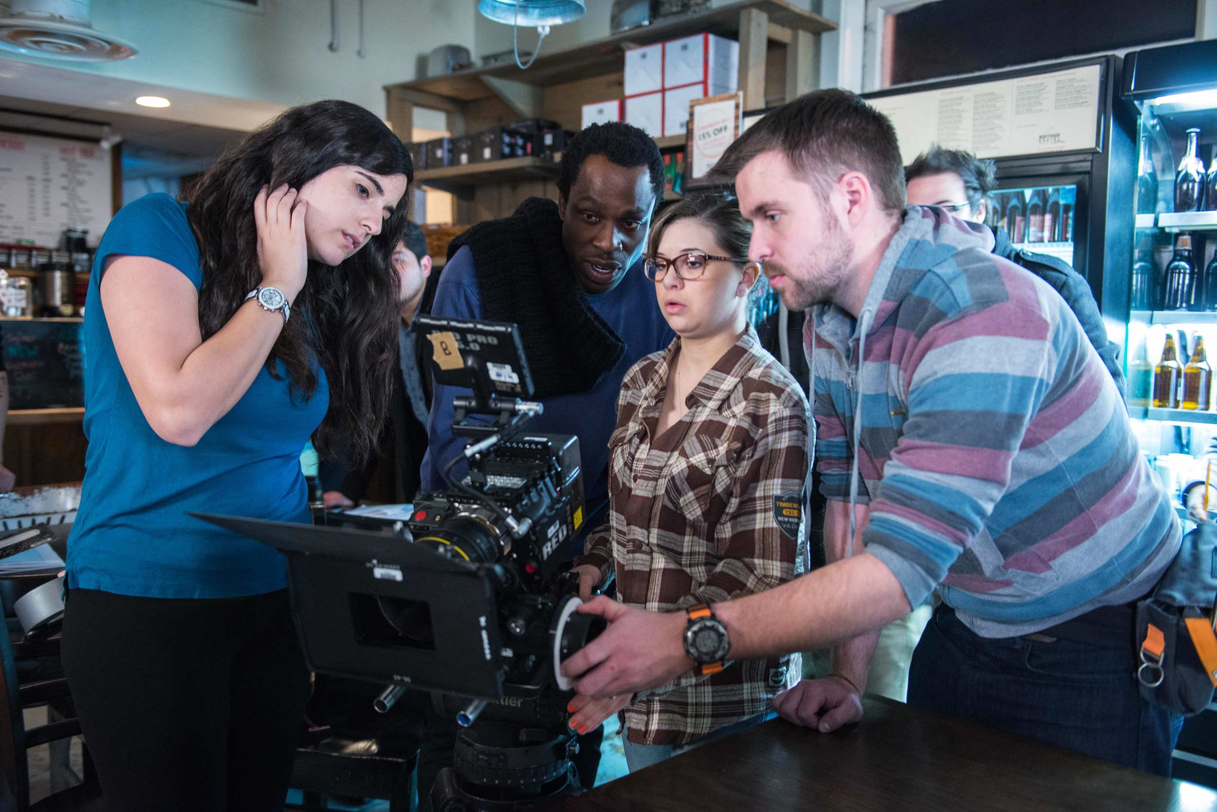 Cinematographer Hans Charles and his camera team, Film and Video Studies students in Cinematography. Image Dixie D. Vereen.