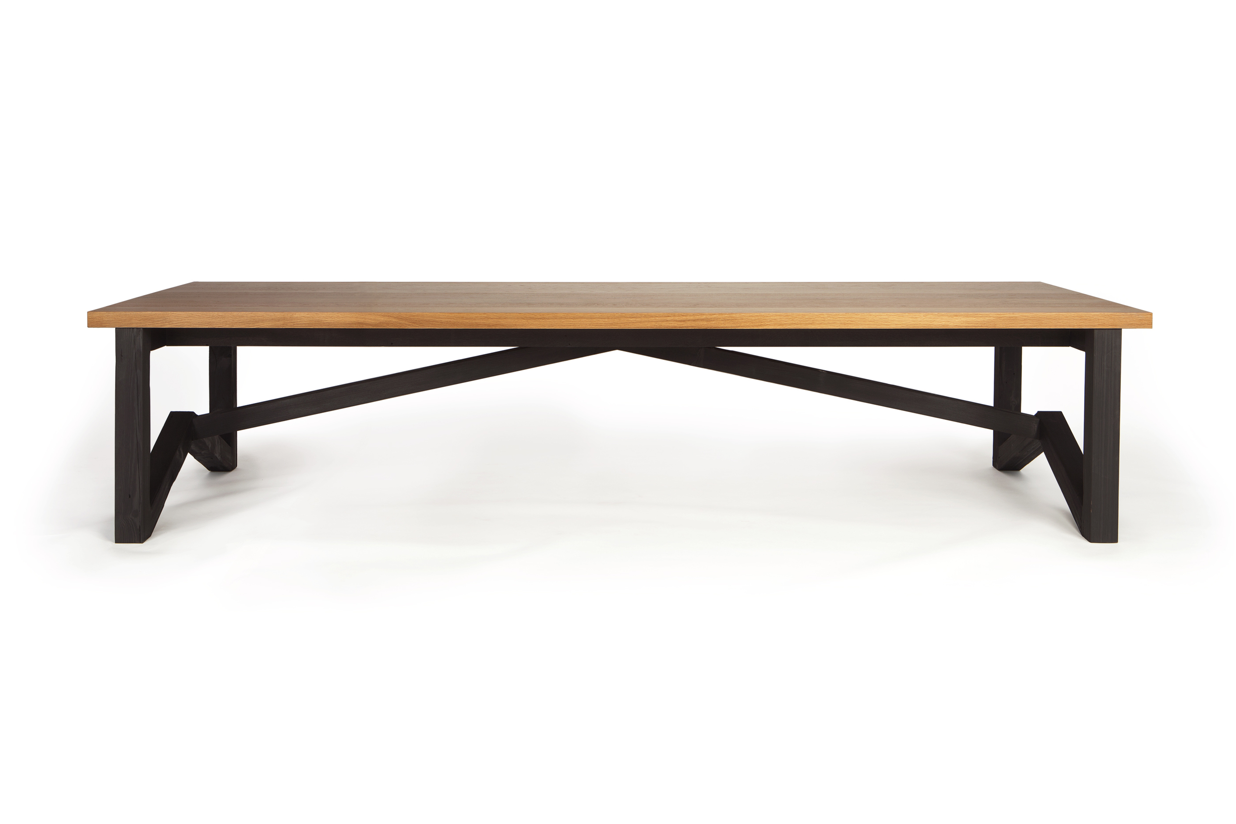 11 FOOT BUTTERFLY TRESTLE TABLE FEATURING CHARRED HEART PINE BASE WITH FSC CERTIFIED WHITE OAK TOP