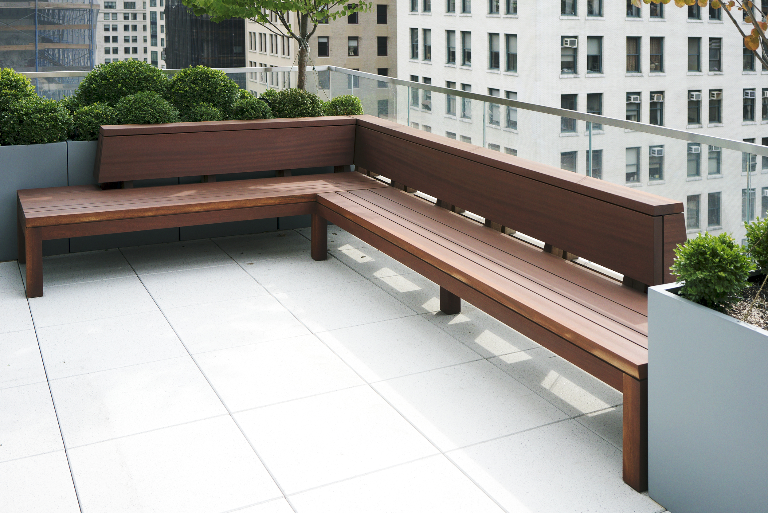 CUSTOM OUTDOOR SECTIONAL CREATED FROM A FOUR-SLAB FILTCH OF DEADSTOCK SAPELE