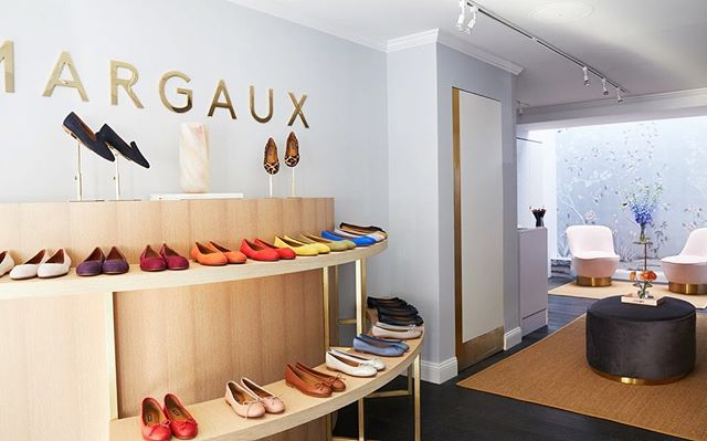 A little fab work from July.  Rift white oak and brass tiered demilune display and bookshelf/bench (not shown) for @margauxny and Paul Bennett Architects.  Photo by @kirstenrfrancis pulled from a Footwear News article on the 387 Bleecker St store.  Got to learn a new skill; TIG welding brass w/ silver!