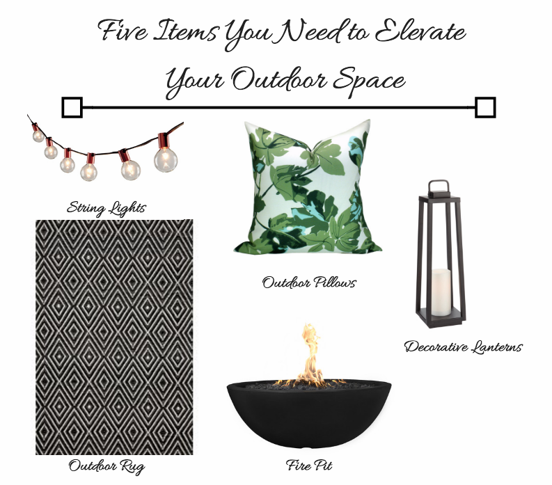 String Lights  //  Outdoor Pillows  //  Decorative Lanterns  //  Outdoor Rug  //  Fire Pit  //