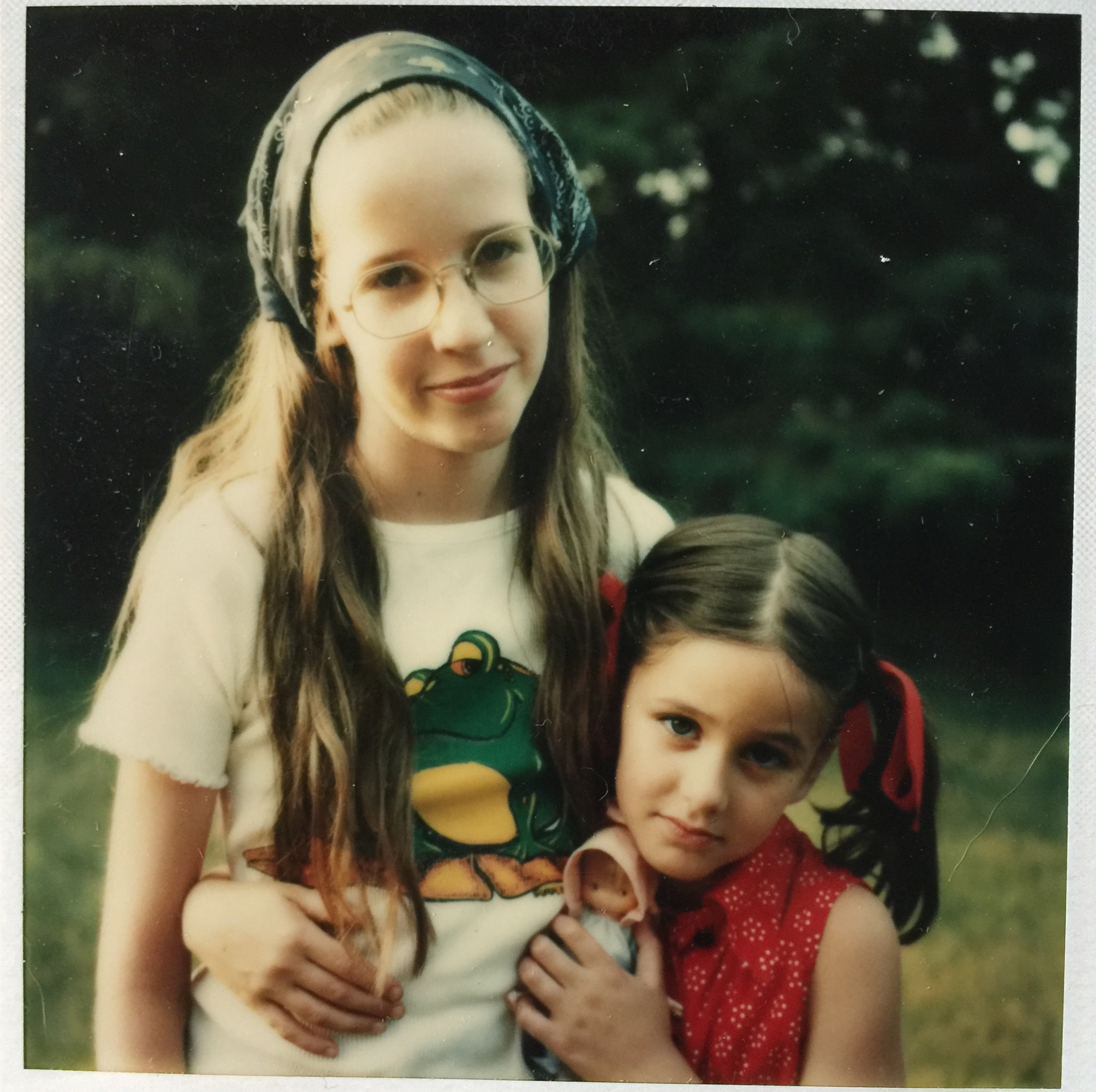 Me (left) and my little sister Molly in the 1970s.  We had to go outside to play in the summer (no air conditioner in the house) provided we showed up back at home around 6:40pm for dinner when my dad got home from work on the train.  If we didn't show up, Mom would call friends' houses or just drive around the neighborhood until she spotted us.  No cell phones.  Like animals.