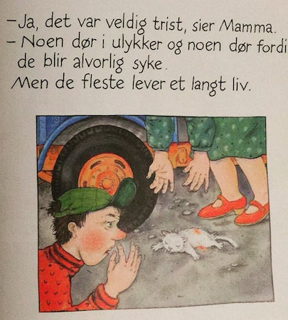 This is an image from a children's book I picked up in Norway.  The scene depicts the main character's pet cat Mimmi's death after being struck by a car.  Awwwww...ahhhHHHH!   Culture shock, right?