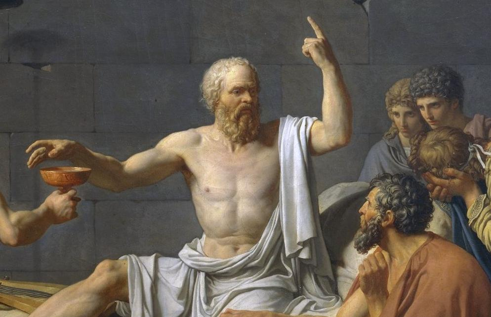 From: The Death of Socrates (a famous teacher who bugged everyone a lot and told the authorities to go to Hades) by Jacques-Louis David (1787)