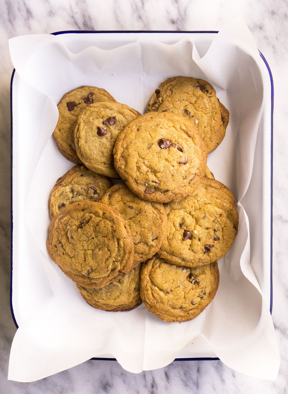 I have discovered the secret to the perfect chocolate chip cookie- you know the cookie that is all crispy on the outside and gooey on the inside.