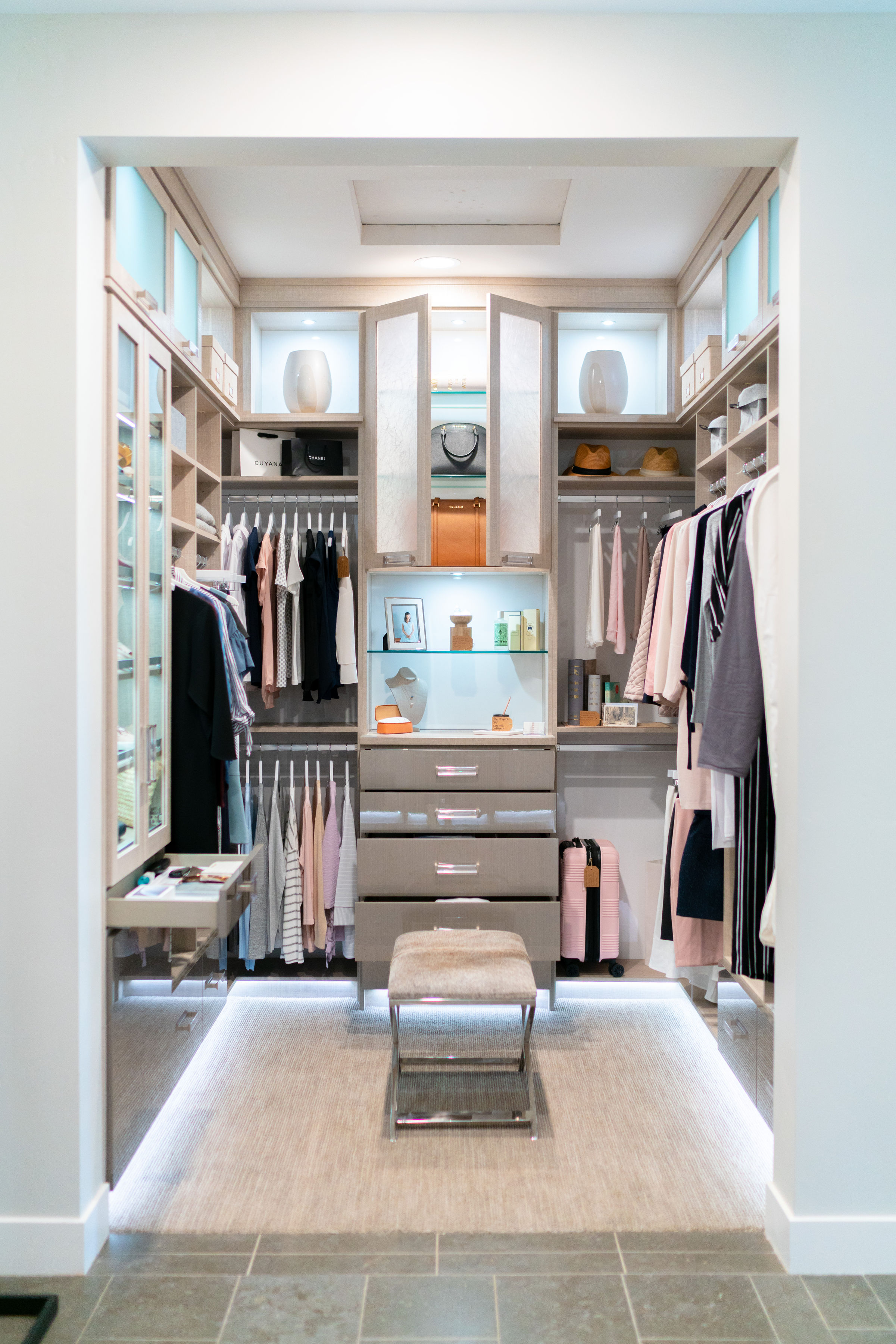 Why not create the best storage for the clothing you choose to keep!  Heywood Park Collective curated this master closet in a model home for Shea Homes.