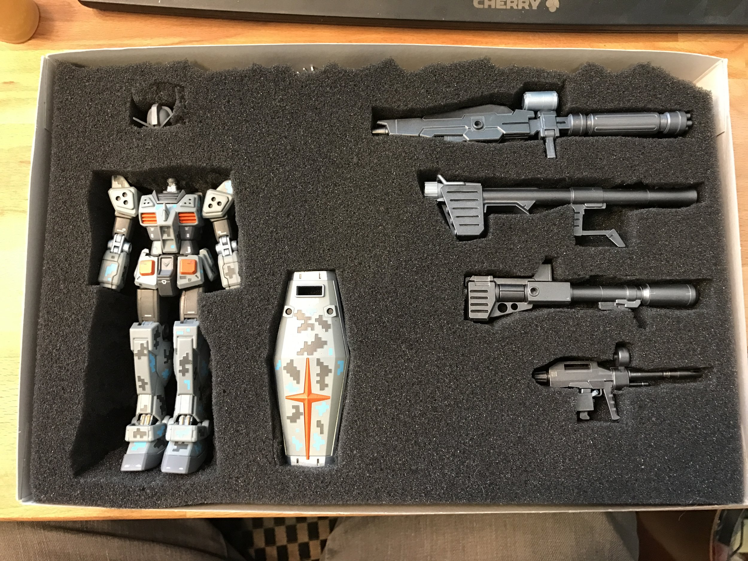 All finished and packed up for shipping! I bought some foam from Amazon and cut places for the body and parts, then put it back in the box the kit came in.