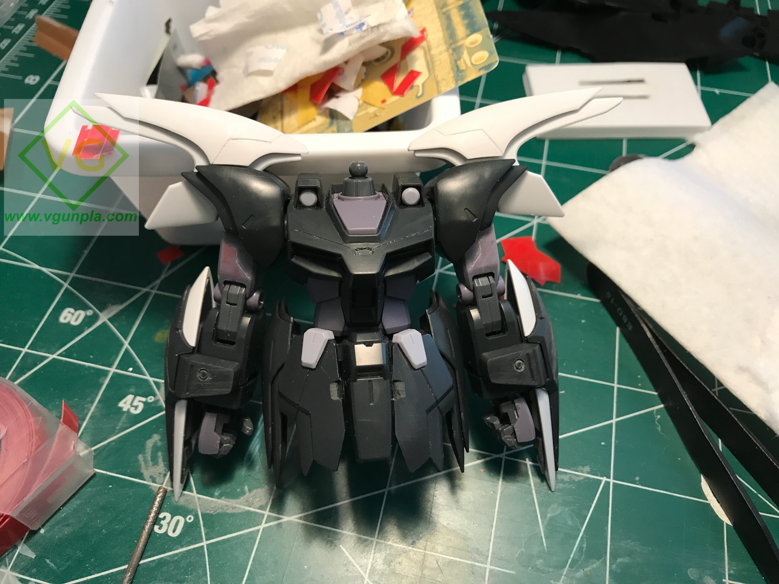 Arms done! You can see most arm details here: the circles on the grieves, panel lines on the grieves upper arms and shoulders, and the notches on the skirt and center armor.