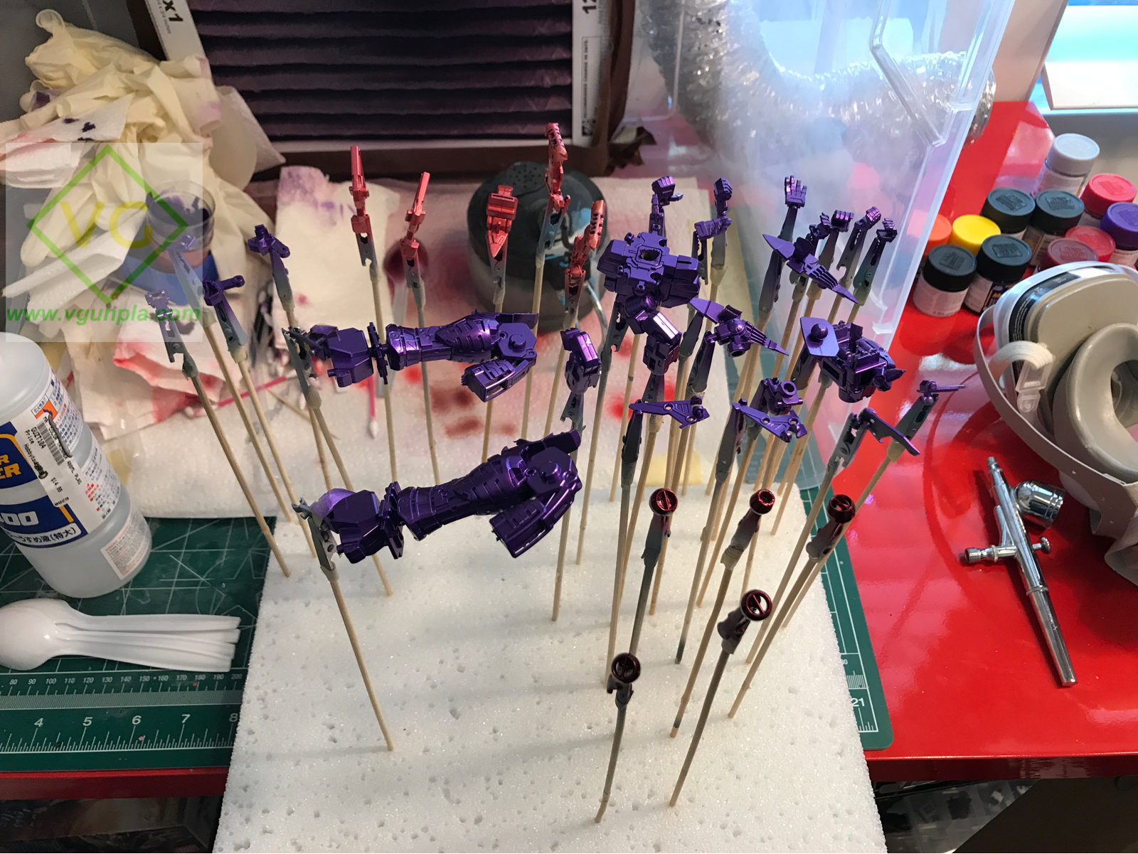 Look at that purple! I test fit some armor parts over the purple frame and it REALLY shines through! Purple was a bold choice but I think it will pay off in the end.