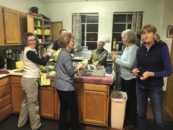 Volunteers helping at st. clare's