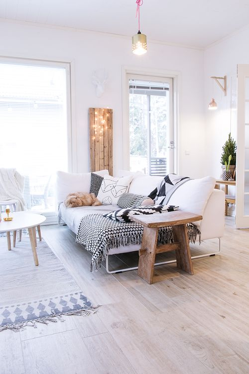 I love everything about this room! The wood, lights, and that rug!