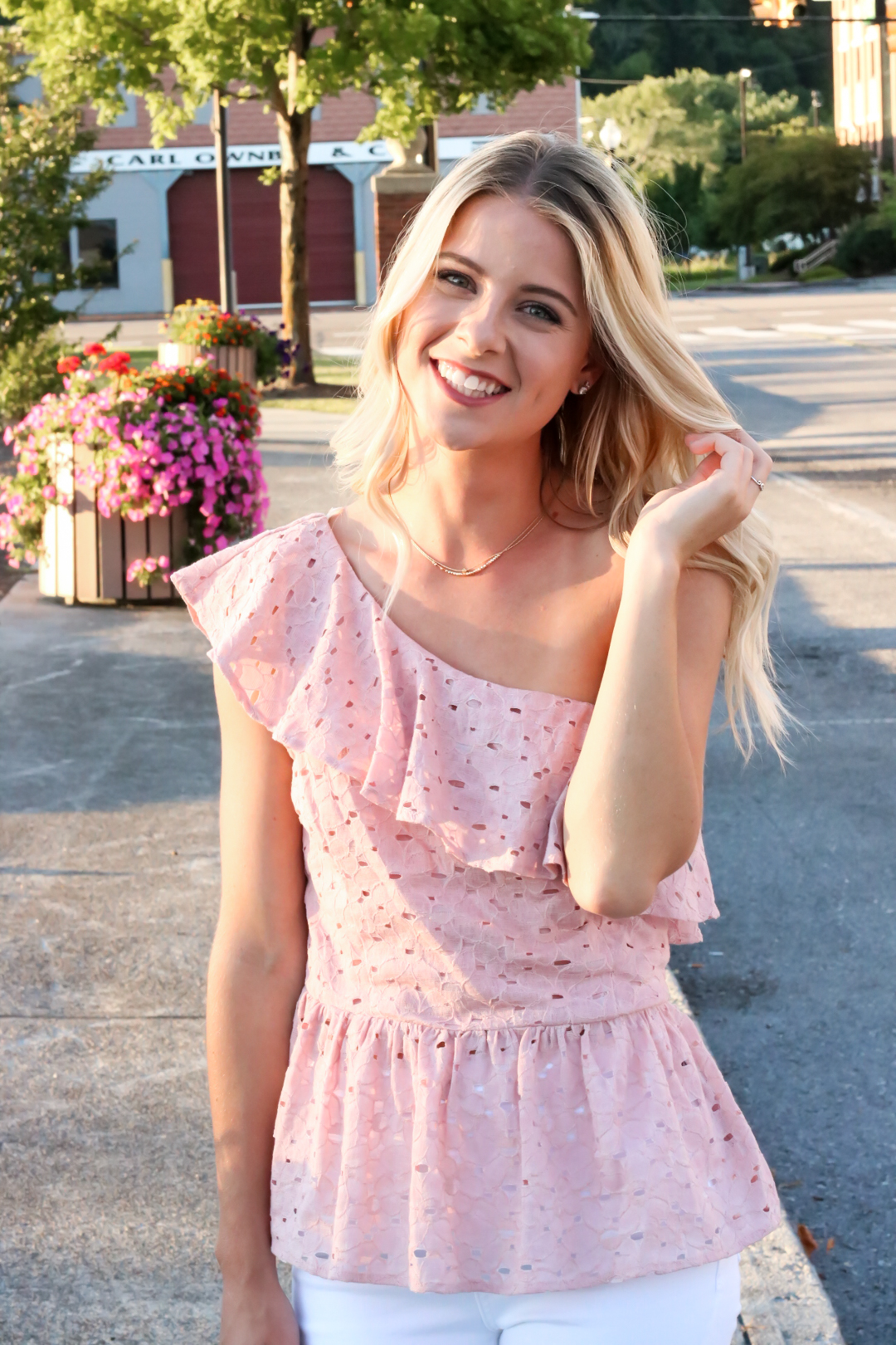 Blush Pink Eylet One Shoulder Top-3.jpg