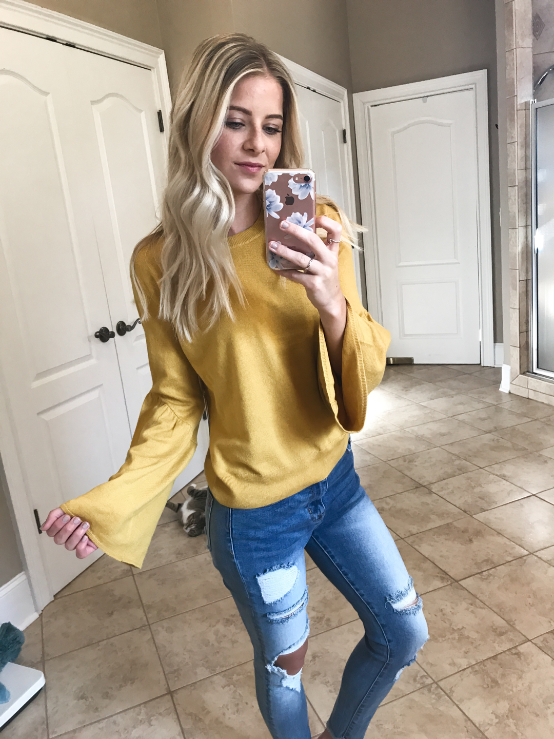 Yellow Bell Sleeve Sweater - Small