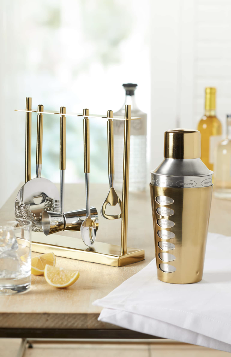 5-Piece Stainless Steel Bar Tool Set - Know someone that loves getting crafty with cocktails? Or someone that love to host? Gift them this bar tool set along with the gold shaker!