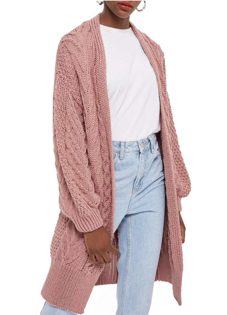 Topshop Long Open Front Cardigan - This has been a bestselling cardigan for a while now and for good reason! The chunky cable knit design is so cute and it comes in several colors!