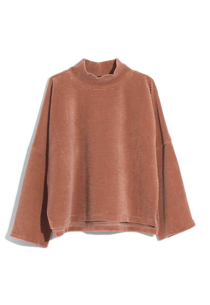 Madewell Velour Mock Neck Sweater - I love the rich color of this plus the mock neck detail.
