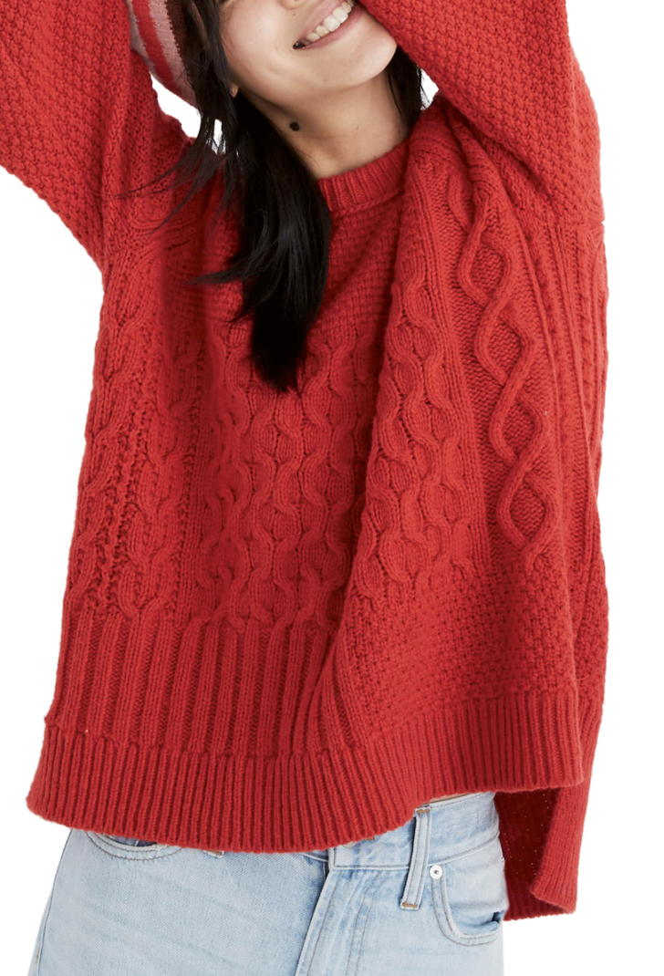 Madewell Cable Knit Sweater - How cute would this be for the holidays?!