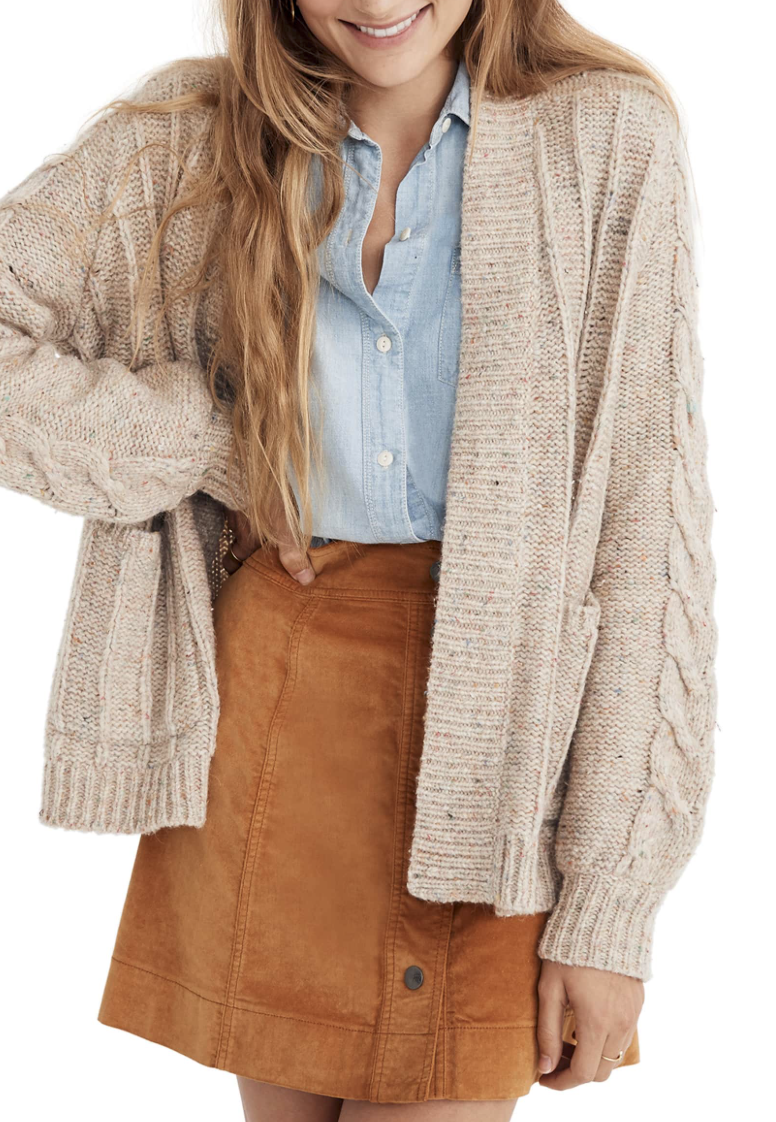 Madewell Cable Knit Cardigan - I love the length of this cardi along with the cable knit detail. 40% off!