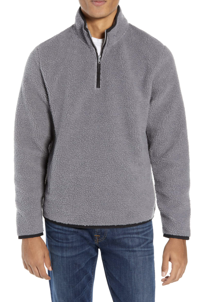 Quarter Zip Fleece Pullover - Would make a great gift! Originally $90, on sale for $45!! Plus you can steal it from him because it looks super duper comfy to snuggle up in.