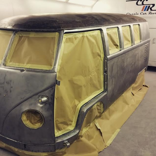 VW Splitscreen van stripped by hand
