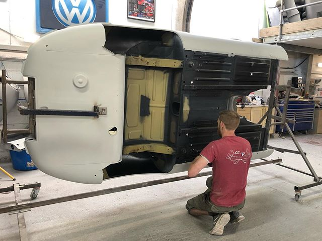 Chris got the underside of the S1 Jaguar Etype painted yesterday! Hoping to see some colour on the inside today 👌#CCR #ccruk #freshpaint #restoration #jaguar #classicjaguar #jaguarworld #etype #etypejag #upol #raptor