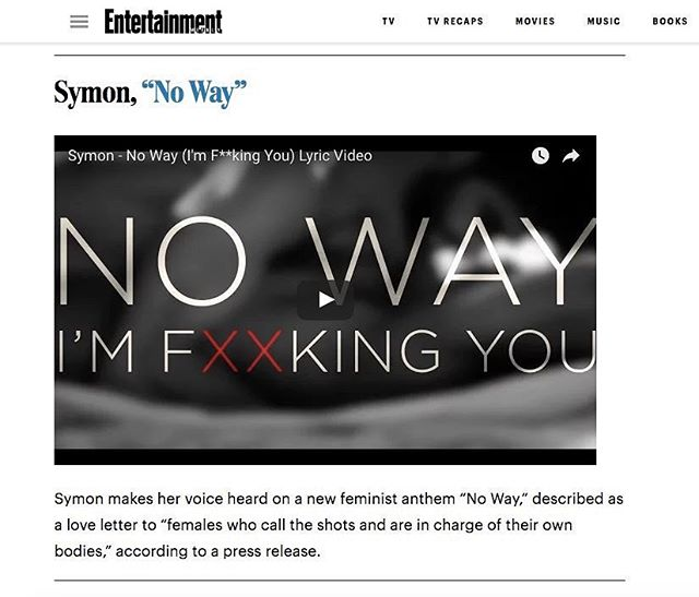 "@entertainmentweekly mentions @officialsymon kickass new single ""No Way"" in article ""9 catchy singles from emerging artists you need to hear now"" 👄💋"
