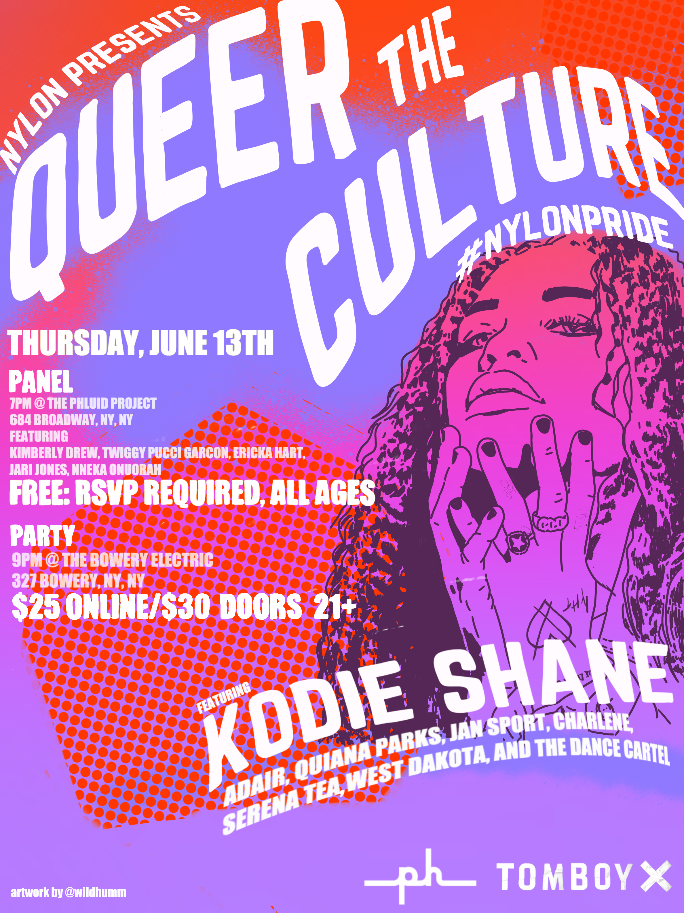 NYLON PRIDE PARTY 2019 - Show poster and official invite.