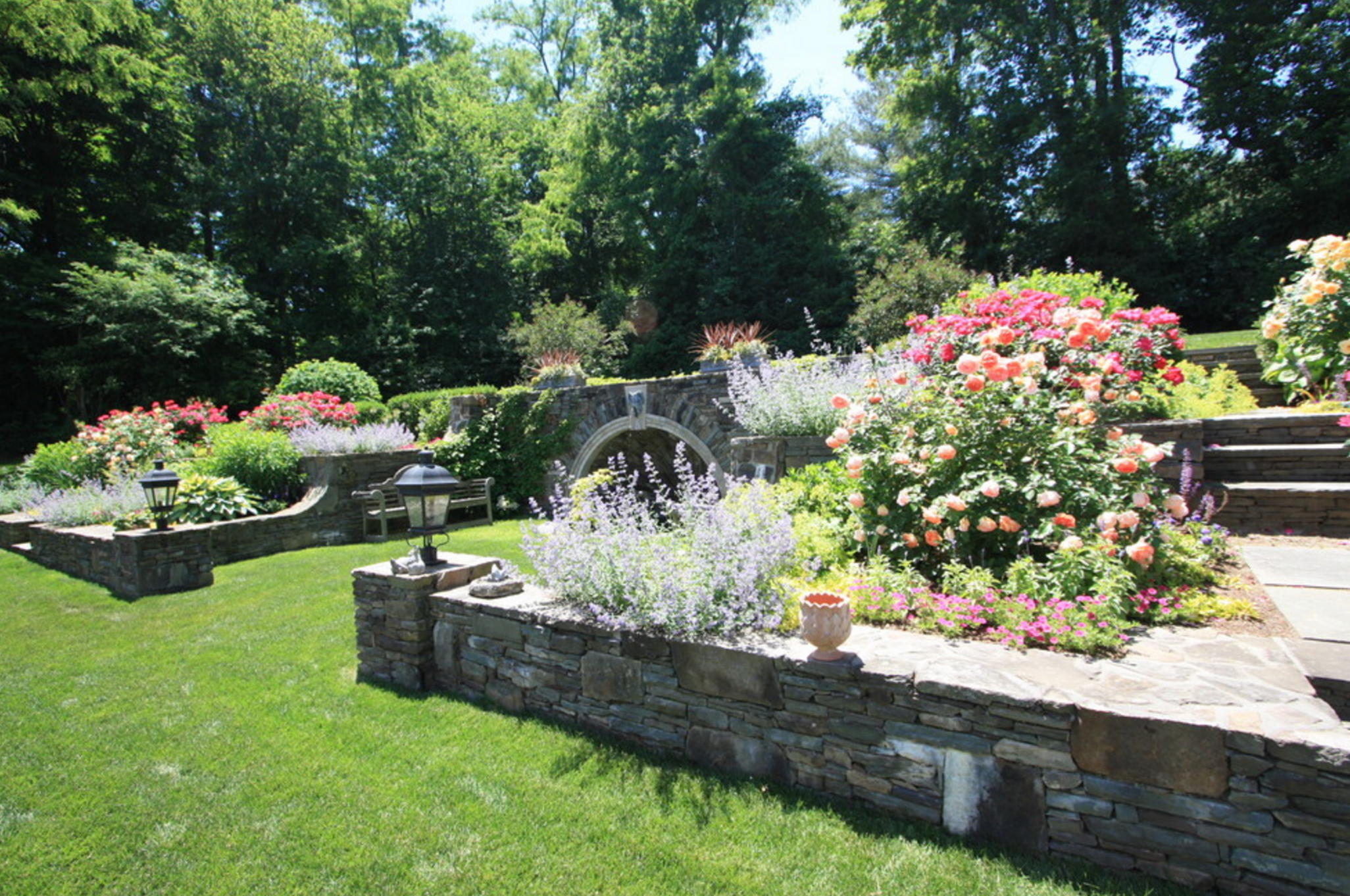 Natural stone water fountain and patio in Fairfield, CT