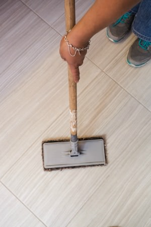 Remove dirt from tile before moping | MrsGrout.com