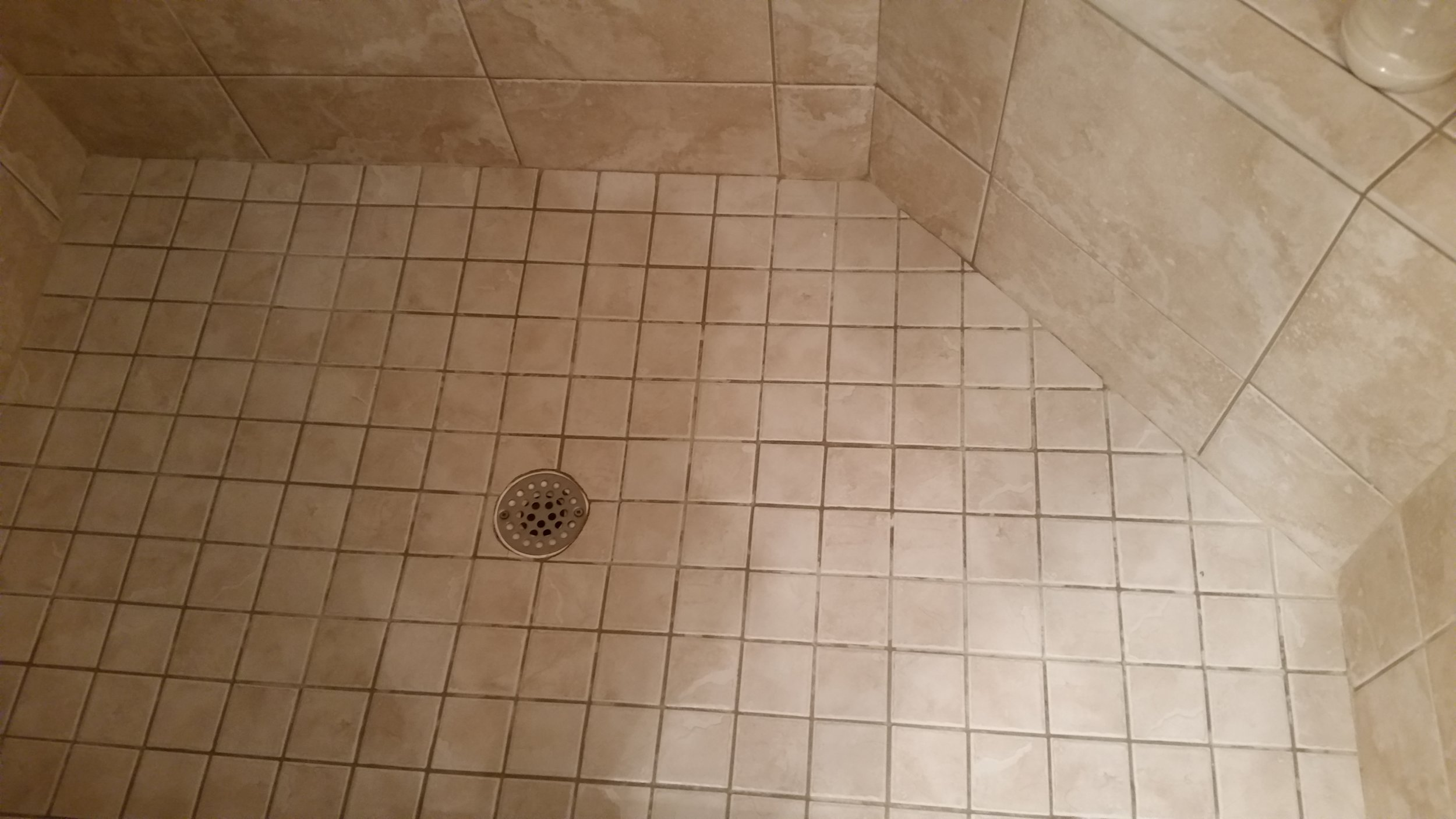 Badly Stained Shower Tiles