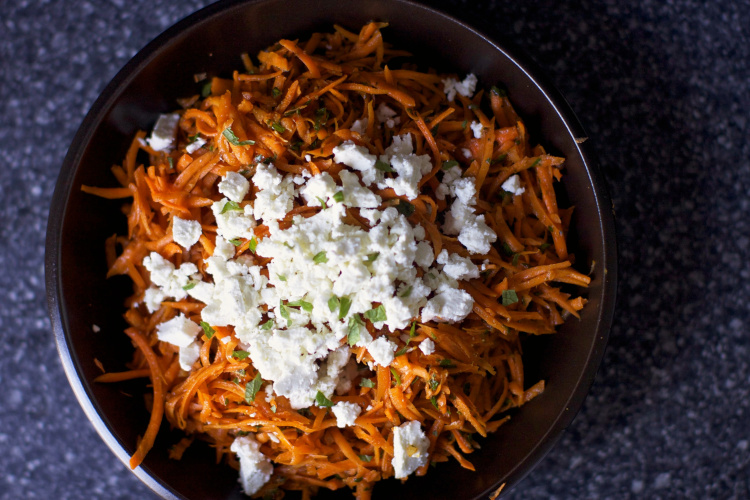 Carrot Salad with Harissa, Feta & Mint