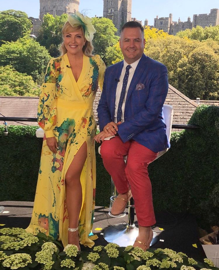 Cheryl Hickey in  Aleks Susak  and a  Lilliput  hat with Ross Matthews in a  Gotstyle  blazer,  Brooks Brothers  pants and  Aldo  Loafers.