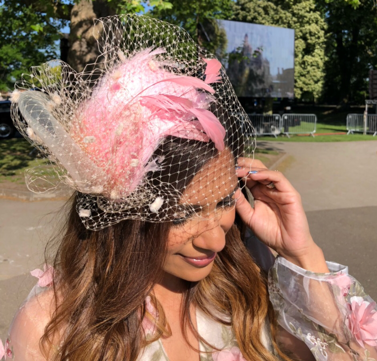 Sangita Patel in a  Lilliput  Fascinator at Windsor Castle Park.
