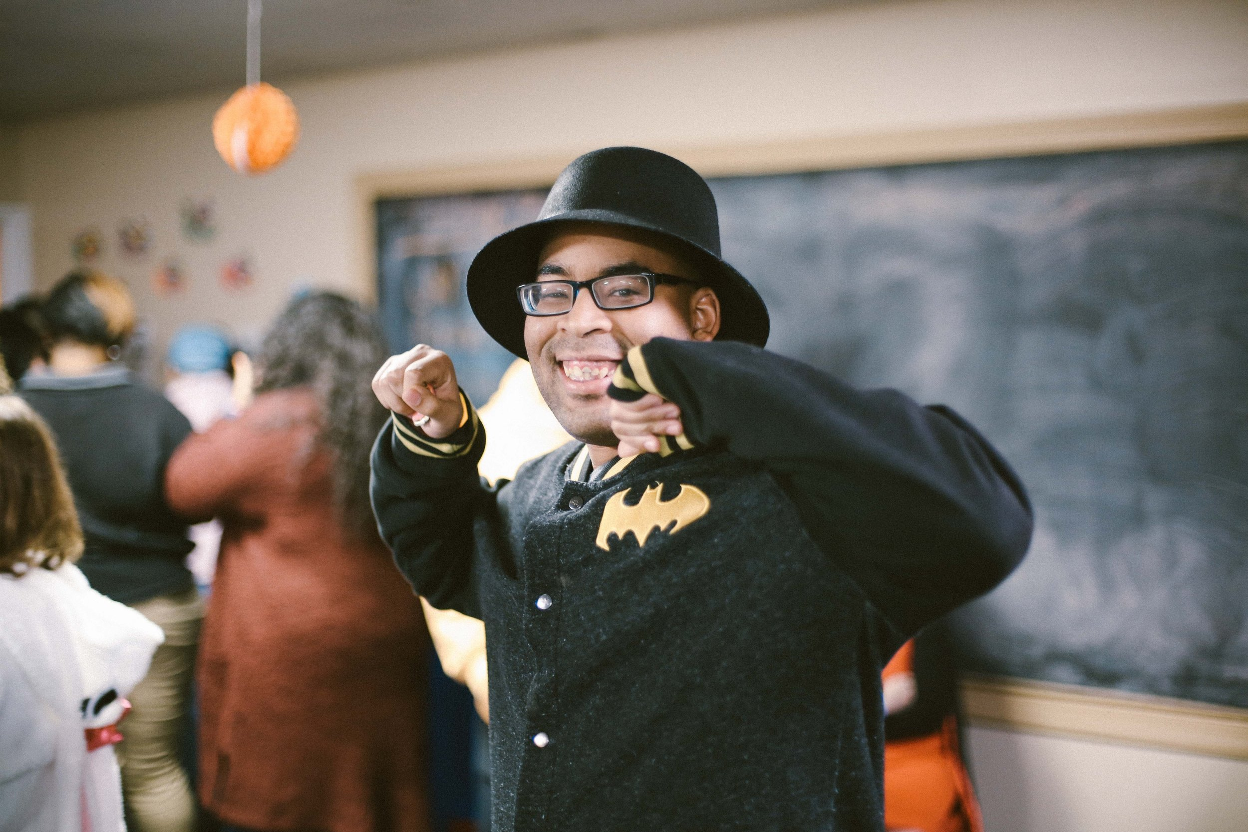 Jamar looking good with his Batman jacket!