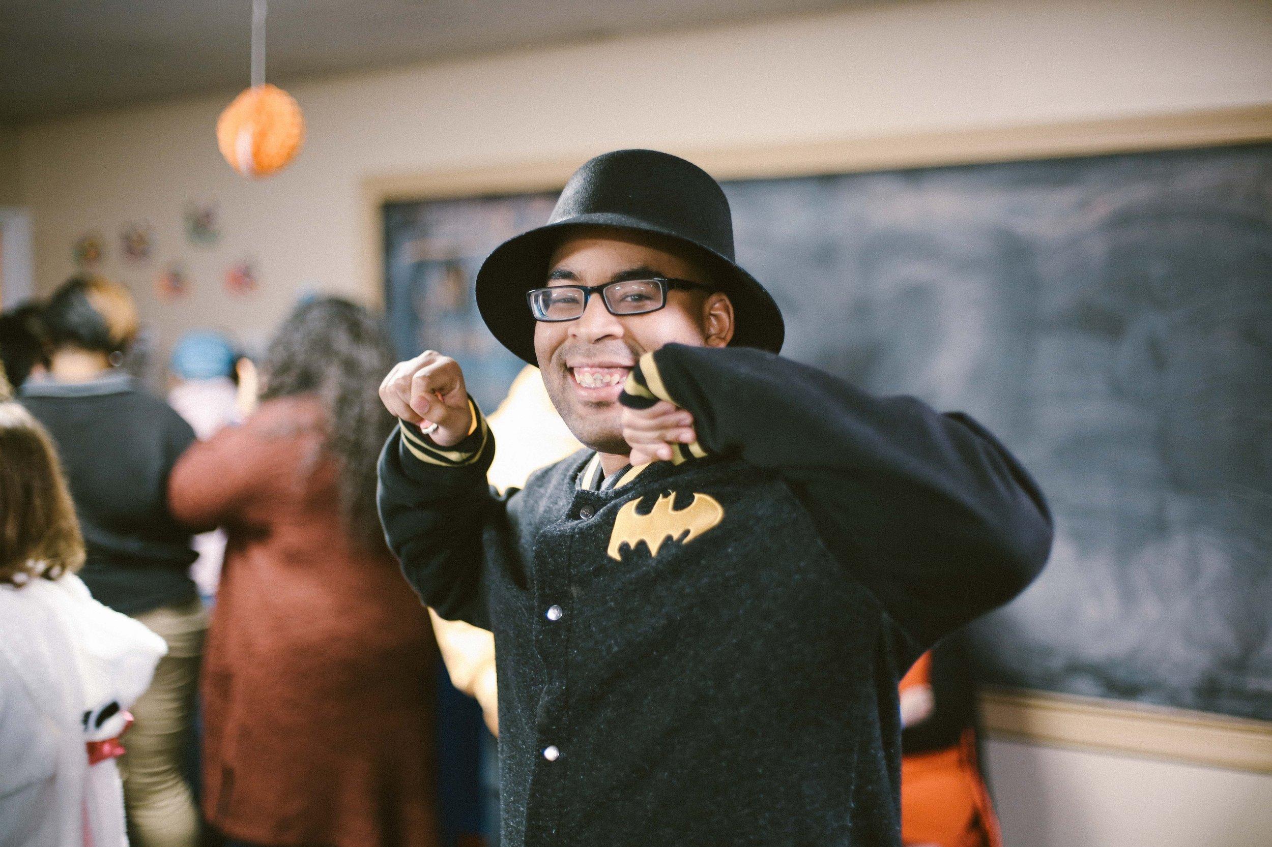 Jamar looking good with his Batman jacket!
