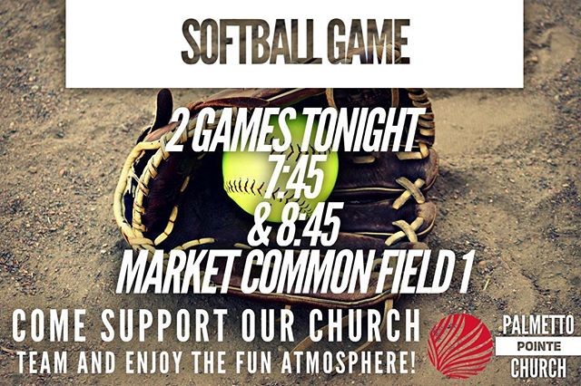 Join us tonight at the Market Common Field #1 for two softball games that our CoEd Softball team will be playing! It's an awesome atmosphere and lots of fun!