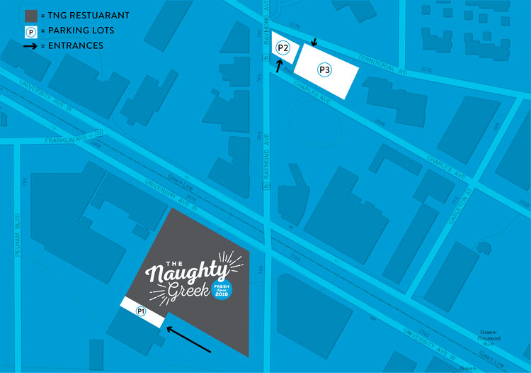 The first lot is south on Raymond, right behind our restaurant. The second and third lots are at the corner of Raymond and Territorial.