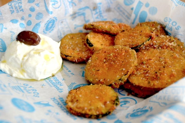 Our crispy zucchini with tzatziki and, of course, Greek extra-virgin olive oil