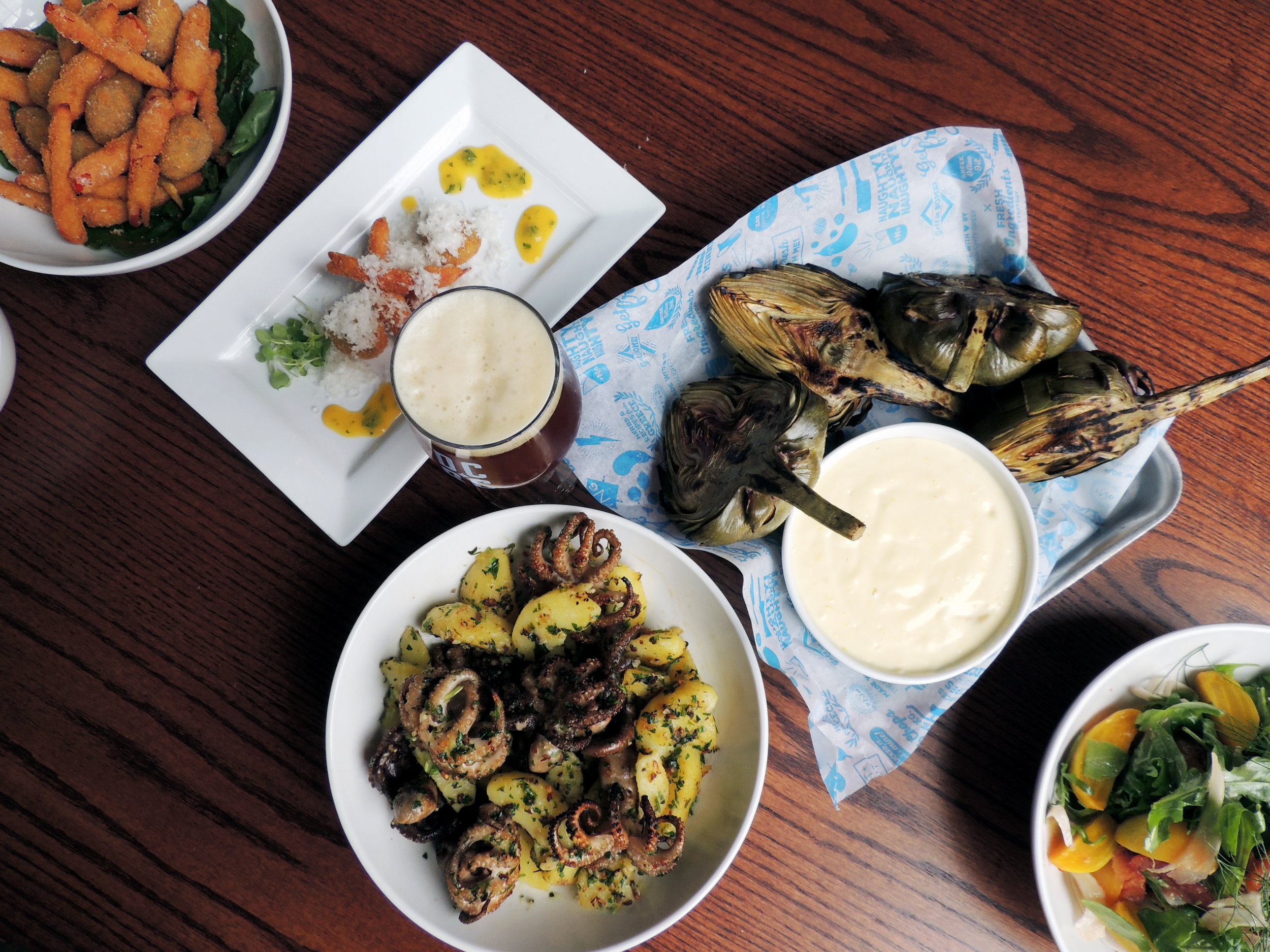 fried stuffed olives, fresno fries, virgin tomato sauce, amber ale, grilled artichokes with lemon aioli, fennel & beet salad, baby octopus with garlicky potatoes